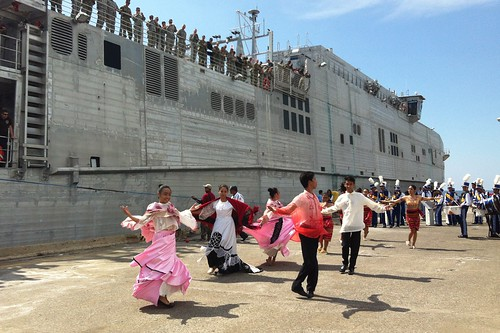 SAN FERNANDO CITY, Philippines - Traditional Filipino dancers perform as USNS Millinocket (JHSV 3) arrives in San Fernando City.