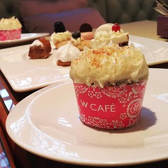 •W Cafe Carrot Cupcake•  Moist and soft with bits of nuts, carrots and nuts topped with the perfect cream cheese frosting!  When you order a piece of this heavenly treat, part of the proceeds will go to charity! You get to try this yummy cupcake and y