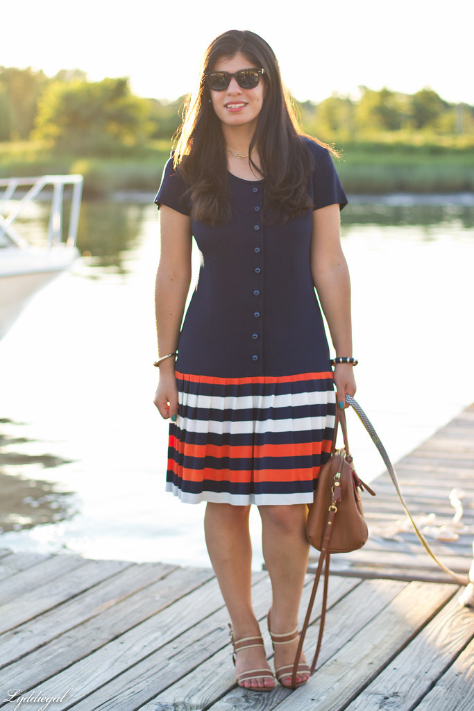 drop waist striped nautical dress, brown bag and sandals-3.jpg