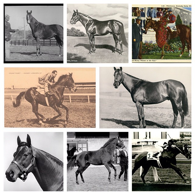 In celebration of American Pharoah's Triple Crown win Saturday, we #tbt to these images of 8 of the 11 previous Triple Crown winners from UK Archives. On top left is Gallant Fox, War Admiral & Whirlaway. Center is Count Fleet & Assault. Bottom is Citation