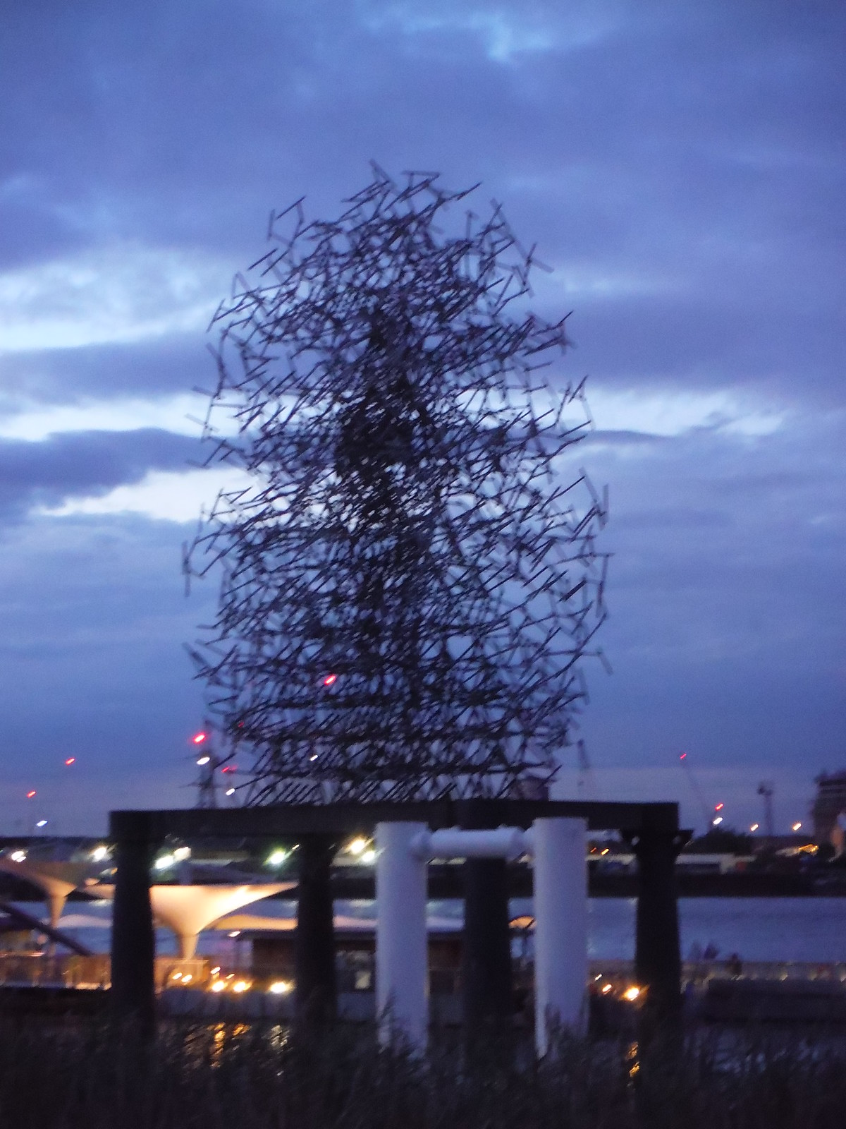 Antony Gormley - Quantum Cloud (at dusk) SWC Short Walk 21 - The Line Modern Art Walk (Stratford to North Greenwich)