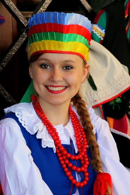 Girl from a polish folk  dancing  group (from Zamosc) performing  in Zamosc, Poland