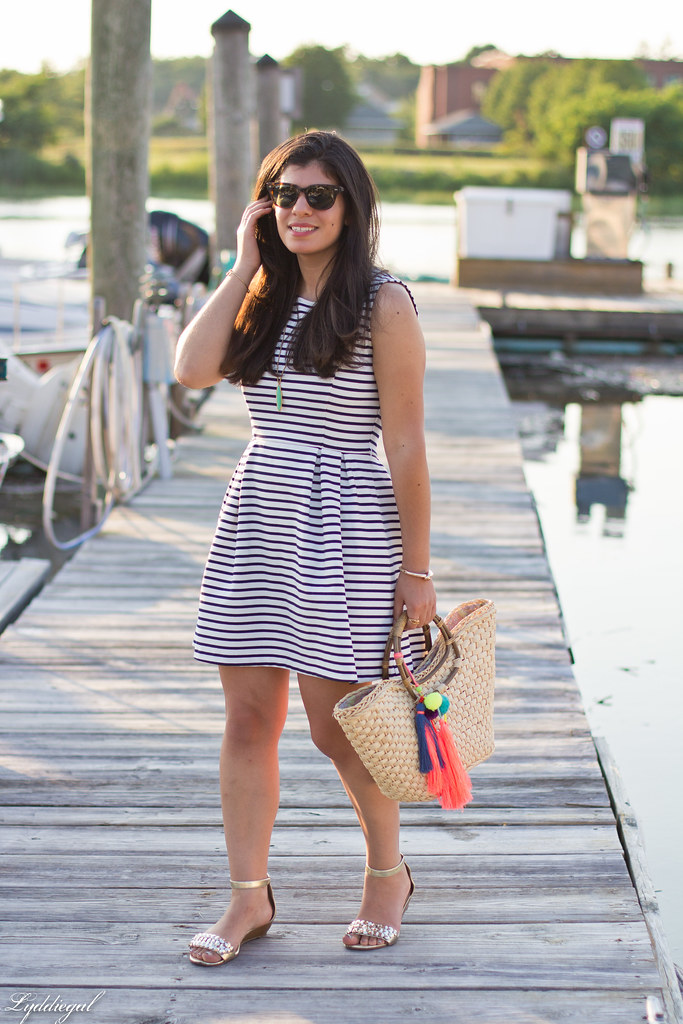 striped dress, straw tote with pom poms, gold sandals-2.jpg