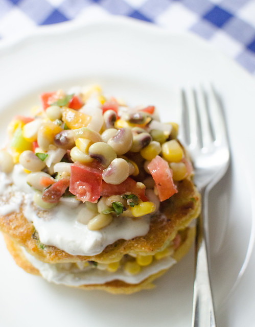 Okra Cornmeal Cakes with Whipped Goat Cheese and Black Eyed Pea Salad