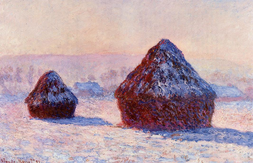 Grainstacks in the Morning, Snow Effect by Claude Oscar Monet - 1891
