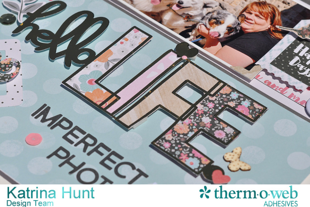 Hello_Life_Scrapbook_Layout_ThermOWeb_DecoFoil_Cocoa_Vanilla_Studio_Katrina_Hunt_1000Signed-2