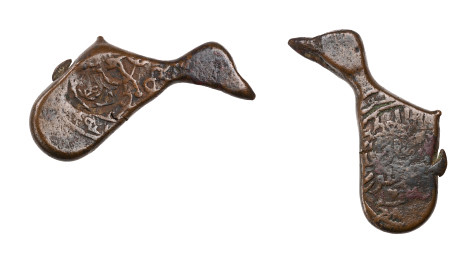 Queen Tamar irregular bronze coin bird-shaped