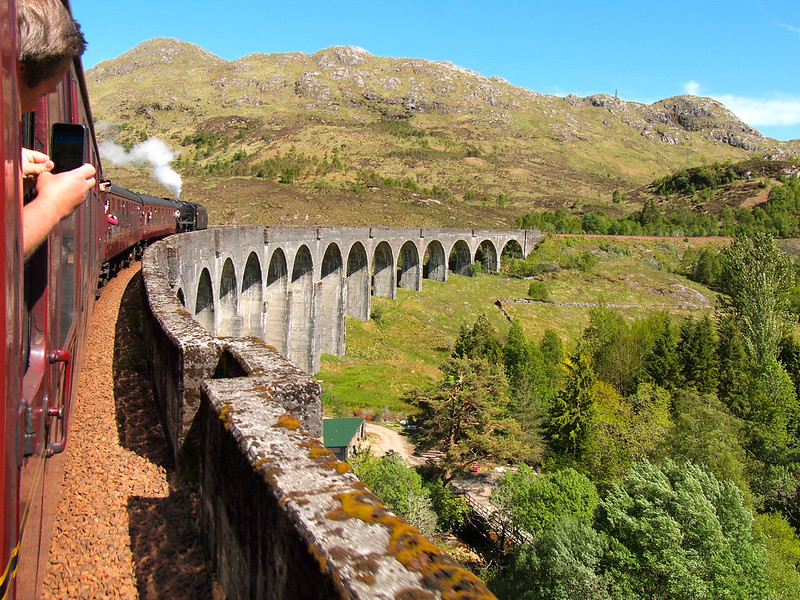 The Jacobite Steam Train going over the Glenfinnan Viaduct
