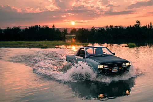 Subaru BRAT at sunset