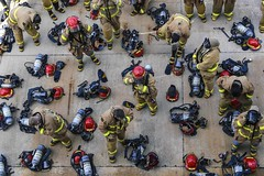 Sailors participate in a firefighting training at Naval Station Mayport.