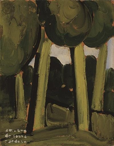 36.- Paysagem verde, 1914. óleo sobre cartão, Coleção particular em depósito no Museu Municipal Amedeo Souza-Cardoso