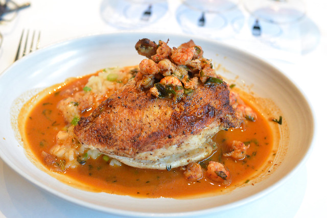 Grilled g.f. Farms Chicken with Scallion Risotto and Crawfish Americaine