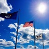 Flapping flags #clouds #USA