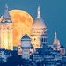 When the rising moon meet the Sacre Coeur by Loïc Lagarde