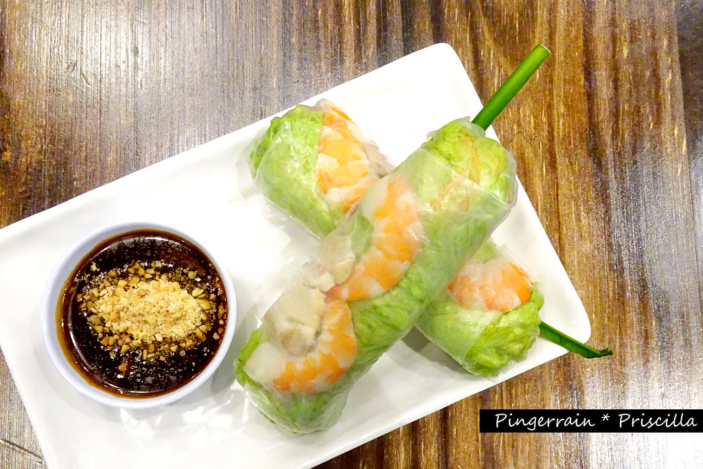 Vietnamese fresh summer rolls with Prawn, Pork Belly and Fresh Herbs