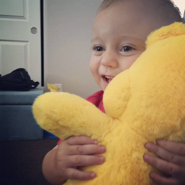 Archer loves his Funshine Bear. He gives him BIG hugs! by bartlewife