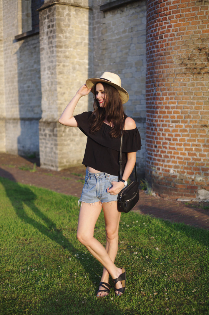off the shoulder ruffle top, levi's shorts, havana hat, birkenstocks