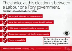 Flyer for Scottish Labour. 'A Labour or a Tory government – it's a two horse race.'