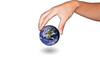 Hands holding world over isolated background. Elements of this image furnished by NASA