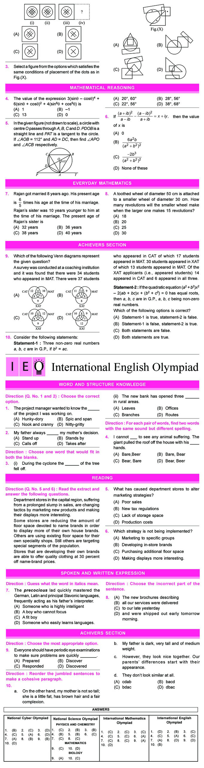NCO, NSO, IMO & IEO Class 11 Sample Papers