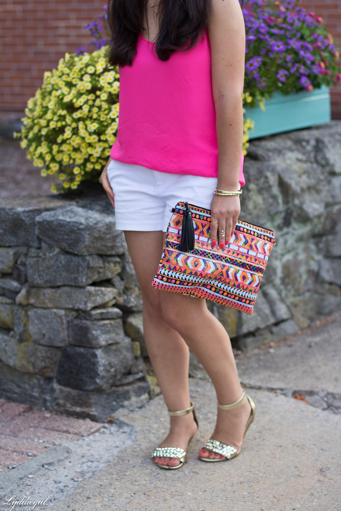 pink tank, white shorts, aztec sequin clutch-2.jpg
