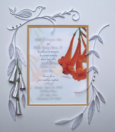 Quilled Wedding Invitation with Trumpet Flowers