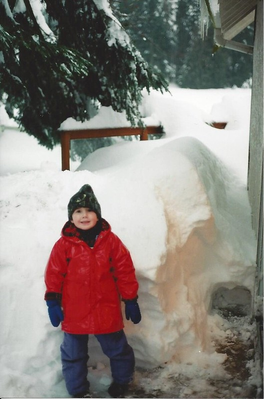 4-year-old Russell Prentice at his grandparents' farm in Central Saanich. Photo via Russell Prentice