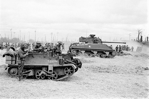 Bren gun Carrier & Sherman Firefly from the British 27th armoured brigade 8th July 1944.