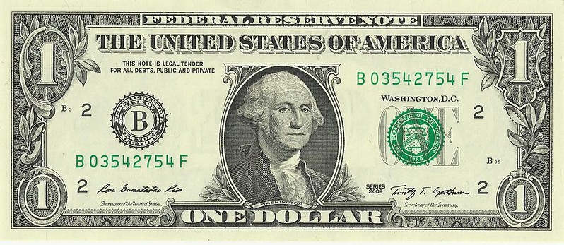 George Washington on the front of the United States one-dollar bill