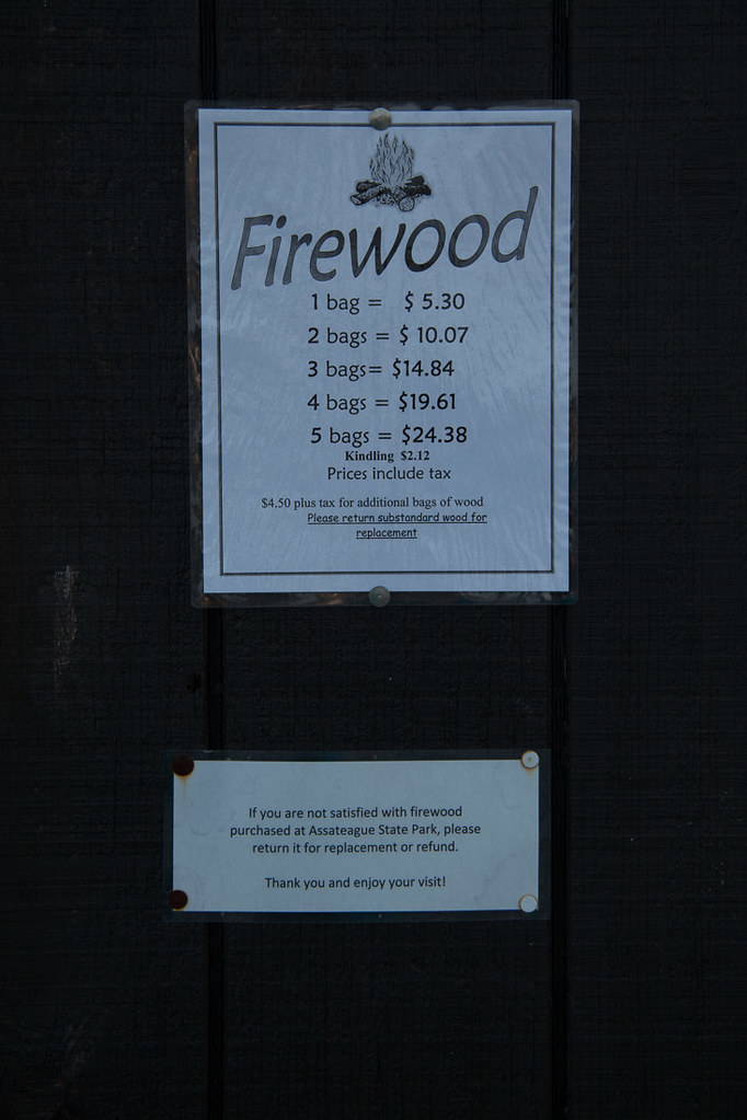 Firewood prices at Assateague State Park