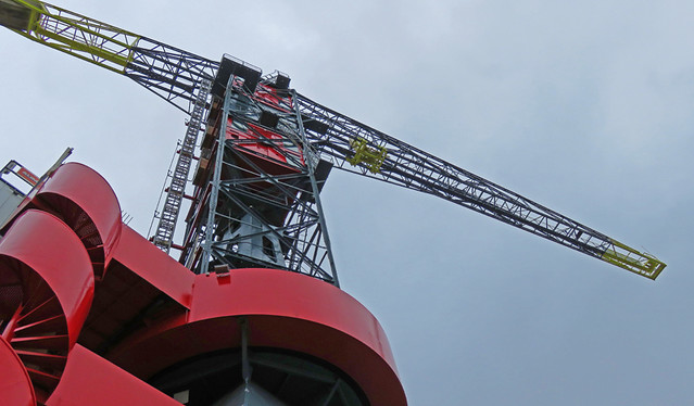 The red spiral staircase leads up to a crane in NDSM, an industrial area across the river from Amsterdam