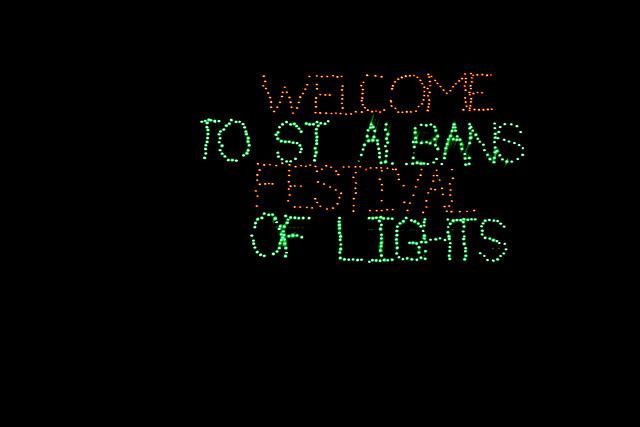 St. Albans Festival of Lights sign!