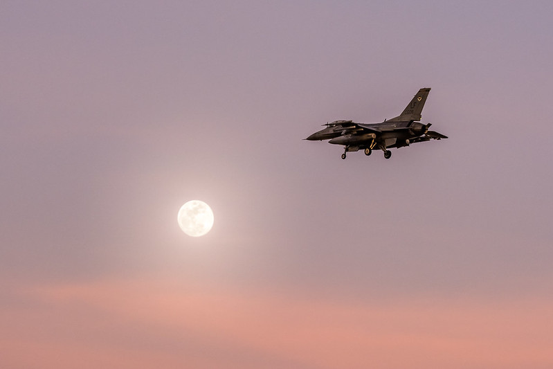 F16 crossing full moon
