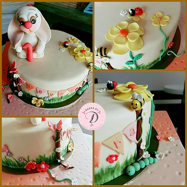 Little Bunny Turns One..Garden Themed Cake from Dilanthi Gunaratne of Bakes By D