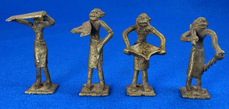 RD15105 4 Vintage African Hand Made Folk Art Primitive Figurines Solid Cast Brass Burkina Faso Yoruba West Africa DSC07119