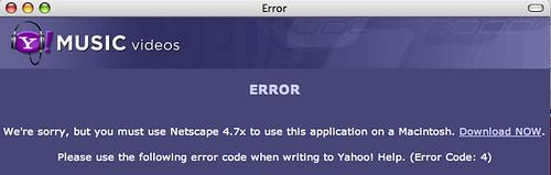 Yahoo music video idiocy for Macs