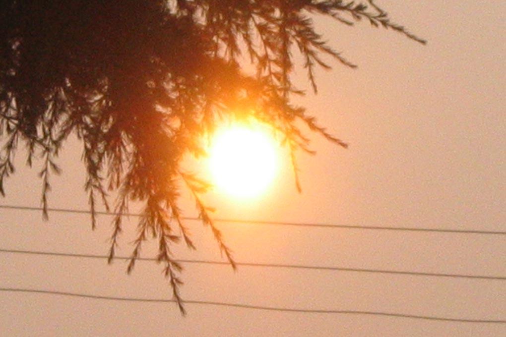 sun blazing
