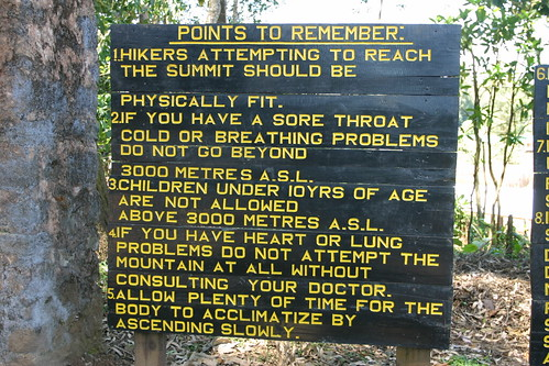Advice along the Marangu route