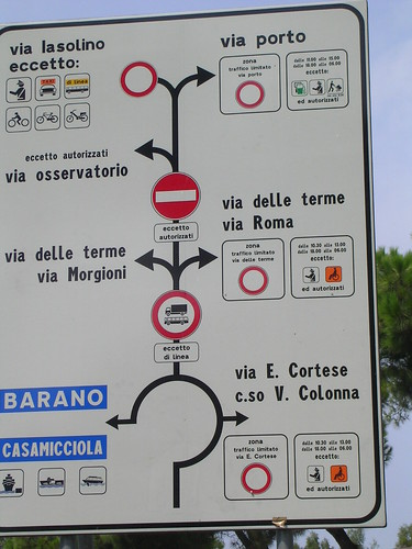 Road sign in Ischia Porto (Italy 2005)
