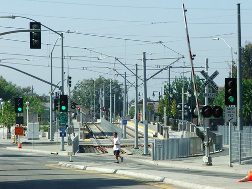 light rail tracks and wires, October 23, 2005
