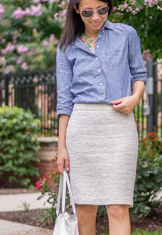 turquoise necklace, chambray shirt, tweed skirt