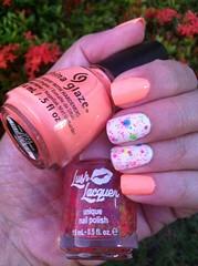 China Glaze – Sun of Peach + Lush Lacquer – Clowning Around