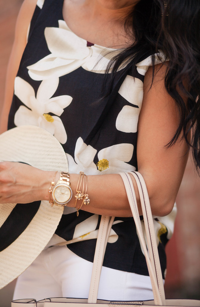 cute & little blog | petite fashion | black floral sleeveless top, alex and ani bracelet stack
