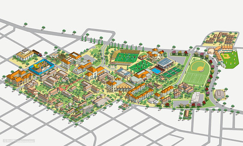 Santa Clara University Campus Map Illustration Design by Rod Hunt