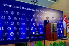 U.S. Secretary of State John Kerry delivers a speech on U.S.-Singaporean relations and U.S.-Asia trade and investment policy on August 4, 2015, at Singapore Management University in Singapore, Singapore. [State Department Photo/Public Domain]