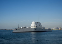 USS Zumwalt (DDG 1000) steams through San Diego Bay, Dec. 8. (U.S. Navy/PO2 Zachary Bell)
