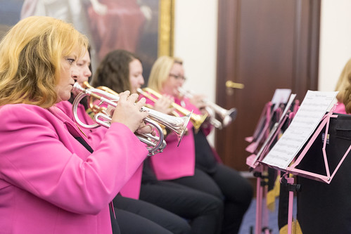 Boobs and Brass performing at the Life Cycle 6 cheque presentation