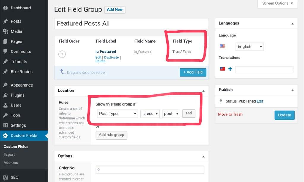 wp custom field is_featured checkbox