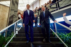 U.S. Secretary of State John Kerry and Under Secretary of State for Management Patrick F. Kennedy depart the main lobby of the Department's Harry S. Truman Building in Washington, D.C., after the Secretary delivered farewell remarks to employees on January 19, 2017. [State Department photo/ Public Domain]