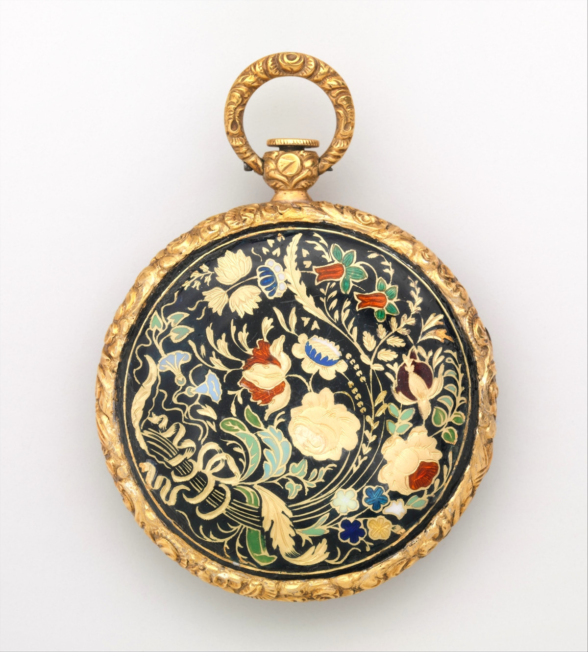 1822. Watch. French, Lyon. Case of gold and enamel, with floral design; jeweled movement, with cylinder escapement. metmuseum